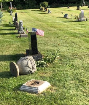 South Lyon Cemetery suffered some vandalism in early August 2019. About 20 headstones were toppled.