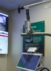 A weather monitoring station is on display at Southern California Edison's emergency operations center in Irwindale, August 1, 2019.