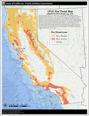 The CPUC adopted this map to indicate what parts of utilities' transmission areas are in high fire threat zones