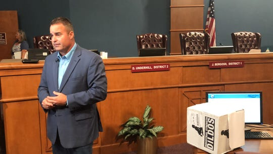 "Escambia Commission Doug Underhill tells reporters that a prank box labeled ""Industrial Strength Dildos"" sent to his office shows how low civility has fallen in the county on Thursday, Aug. 15, 2019."