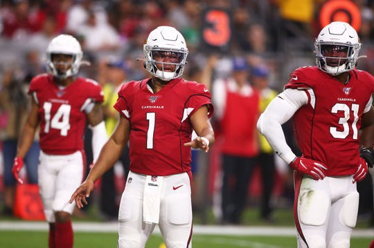 Cardinals quarterback Kyler Murray was 3-of-8 passing for 12 yards against the Raiders in a preseason game Aug. 15 at State Farm Stadium.