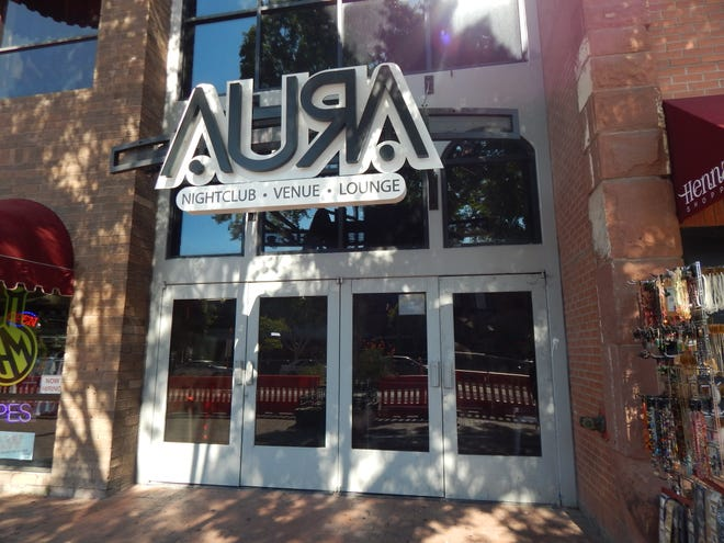 The entrance to Aura nightclub on Mill Avenue in Tempe.
