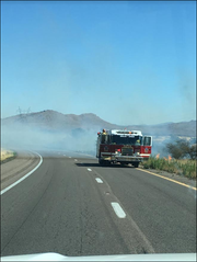 The brush fire near Sunset Point rest area on Aug. 16, 2019.