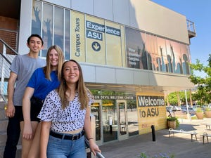 ASU students (from left to right) Alfred Varela, Megan Koehler and Kylie Mercer pose for a photo at the Sun Devil Welcome Center in Tempe on Aug. 15, 2019.