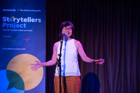 Kathy Nakagawa tells her tale during the Arizona Storytellers Project presents Adulting on Tuesday, Aug. 13, 2019.