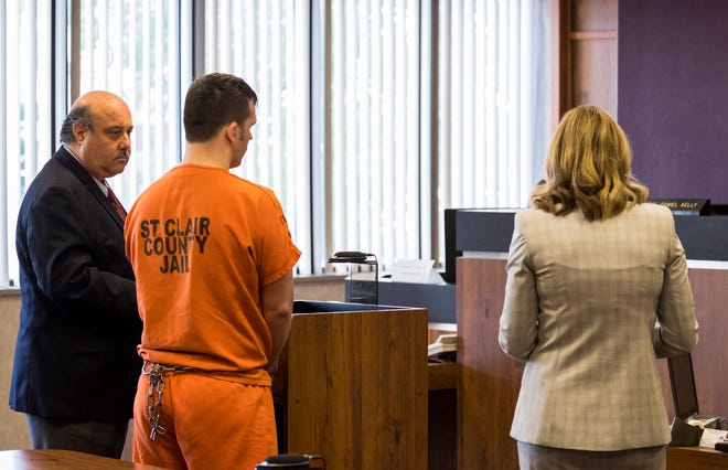 Joshua Bauman, center, stands with his attorney Bill Colovos, right, while Assistant Prosecutor Melissa Keyes questions him during a plea hearing in St. Clair County Circuit Judge Daniel Kelly's courtroom Friday, Aug. 16, 2019. Bauman pleaded guilty to the shooting death of off-duty Port Huron Police Lt. Joel Wood and the attempted slaying of his ex-wife and her neighbor.