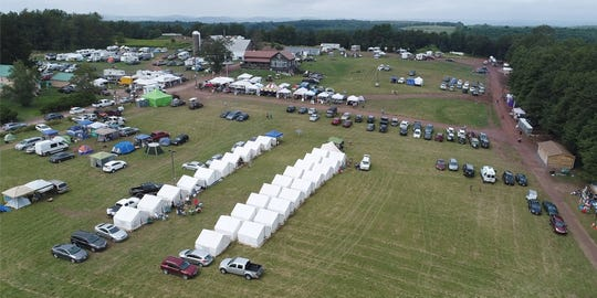 Glamping tents set up at the Yasgurs Road Reunion in Bethel Aug. 16, 2019.