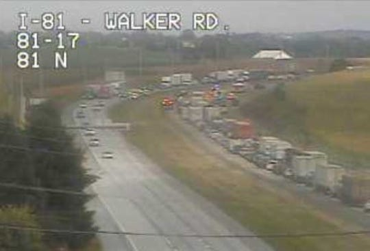 A PennDOT traffic camera shows traffic backed up behind the crash near exit 17 (Walker Road) north of Chambersburg.