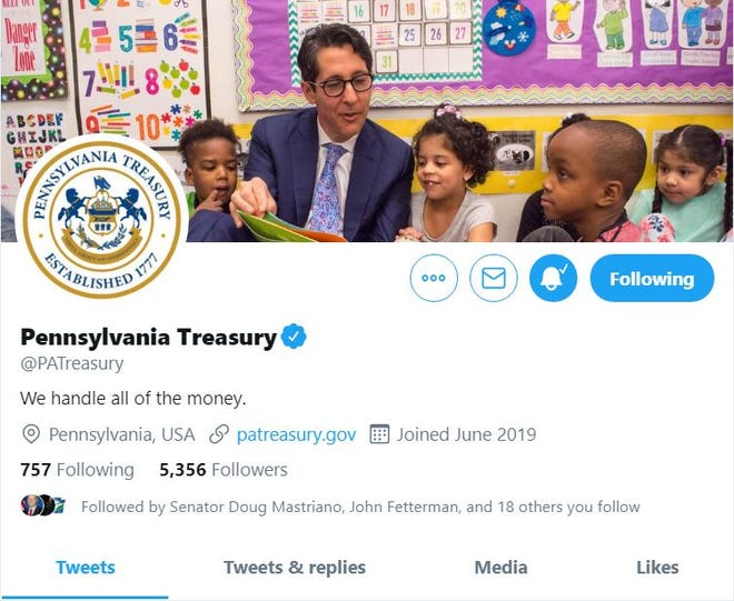 The profile page for the Pennsylvania Treasury's Twitter account, @PATreasury, with Treasurer Joe Torsella pictured. The account has grown steadily in popularity since its debut in June.
