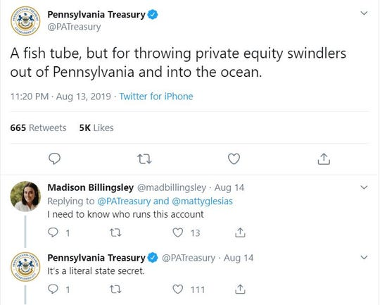"After a video showing a ""fish tube"" invention that transports fish and eels safely over dams went viral this week, the @PATreasury account used the opportunity to talk about private equity firms. The tweet itself went viral, garnering 5,000 likes and 665 retweets."