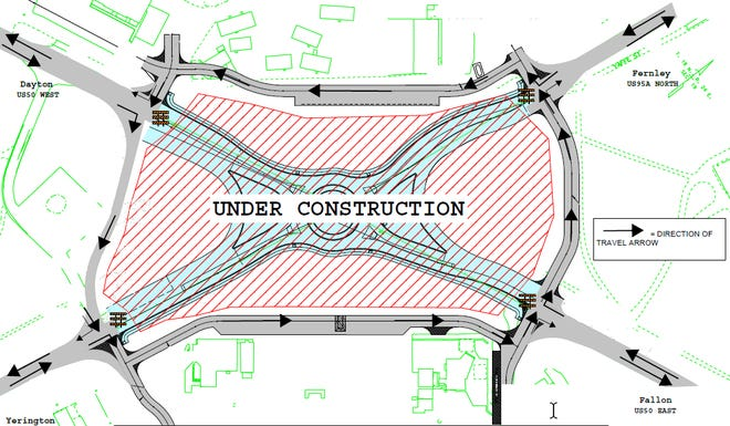 A schematic of the Silver Springs roundabout construction.