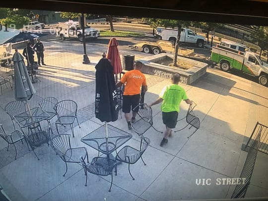 Security camera footage captures Sparks city employees removing patio furniture at Victorian Saloon