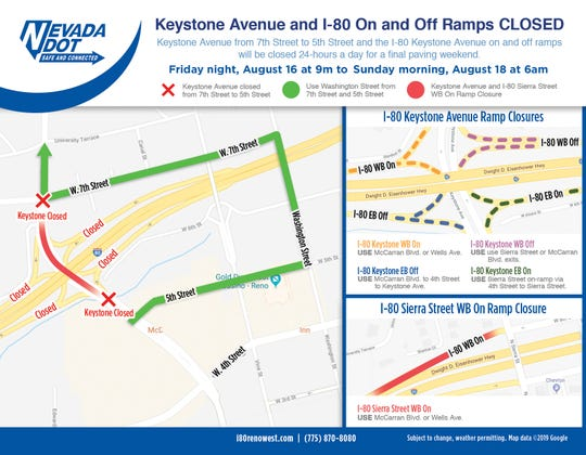Detour map for I-80/Keystone Avenue closures from Aug. 16 to 18 in Reno.