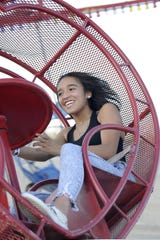 Chantae Conway, 15, of Fernley, enjoys a ride at the fair.