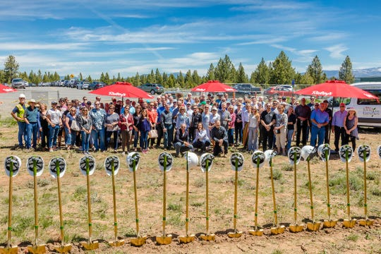 More than 150 people took part in a groundbreaking ceremony for a new Raley's grocery store in Truckee, California on June 5, 2019.