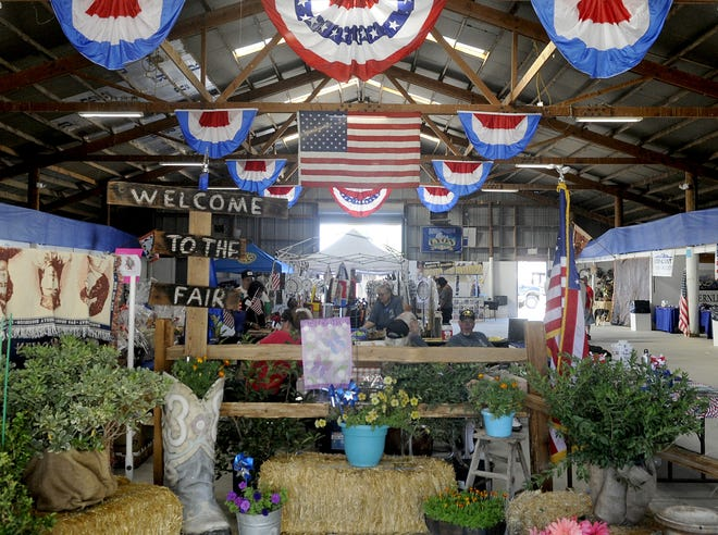 Americana decorations fill a building at the annual Lyon County Fair.