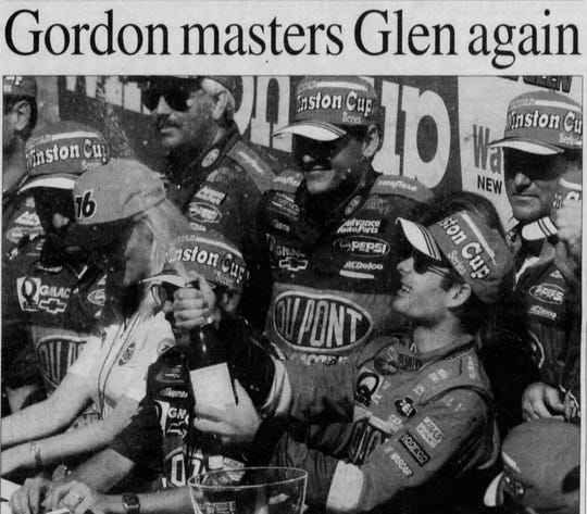 Aug. 16, 1994: Jeff Gordon lets a cork fly after winning the Frontier at the Glen.