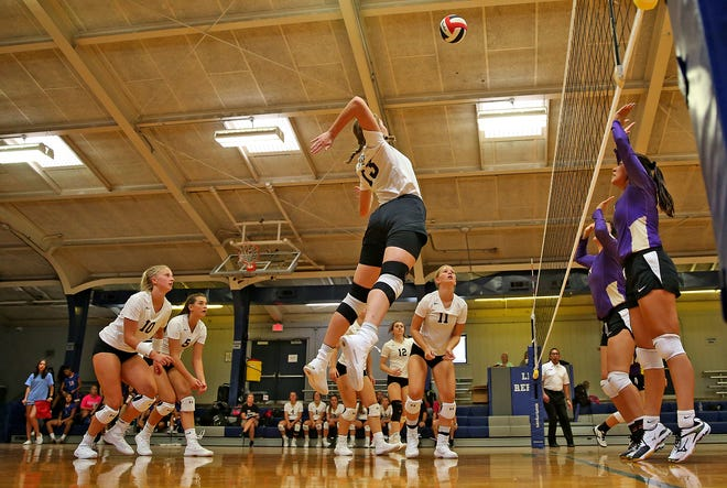 Water Valley and Alpine compete in the 2019 Nita Vannoy Memorial Volleyball Tournament in San Angelo on Friday, Aug. 16, 2019.