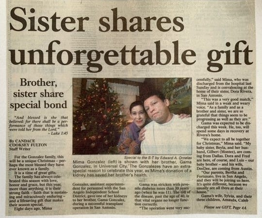 Standard-Times article from 20 years ago when Mima Gonzalez donated a kidney to her brother, Gama Gonzalez.