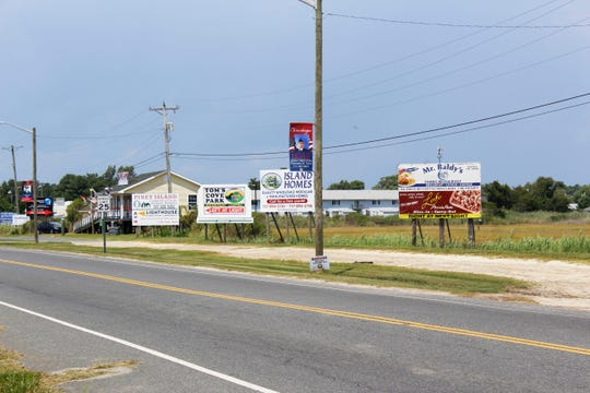 A street view of Maddox Boulevard, the main hub for food trucks in Chincoteague, on Wednesday, Aug. 7.