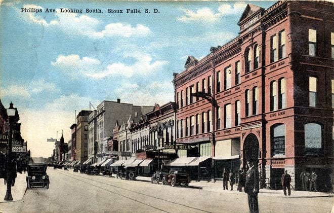 Princess Theater (center frame) is shown from Eighth  and Phillips looking southwest around 1917.