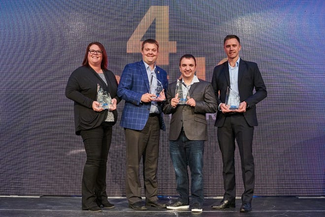 Winners of the 2019 YPN 4 under 40 Award were, from left, Katie Ashmore, MSH Architects;  Andrew Eitreim, Architecture Incorporated; Matt Paulson, MarketBeat; Andy Cahoy, Farmers Business Network.
