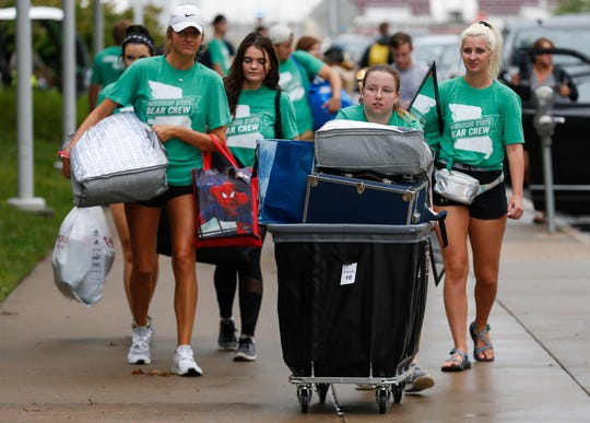 The Bear Crew helps new students with their belongings during move-in day Aug. 16 at Missouri State University. A series of new efforts were announced this week to help other students apply and pay for college.