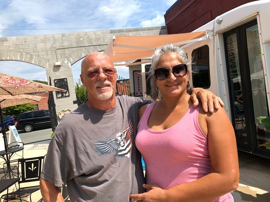 Owners Yvana Griffith and Joe Hernado of Staunton Patio, which is on the corner of Baldwin and Lewis streets in downtown Staunton. It recently opened and offers a food truck court, patio and retail options.