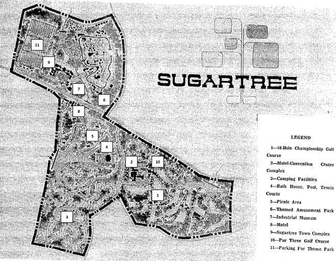 Map of Sugartree, courtesy June 17, 1971 Danville Register