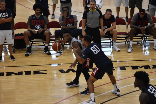 Utah Jazz guard Donovan Mitchell practices during Team USA Basketball's training camp on August 8, 2019.