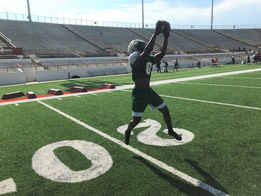 FAMU cornerback Eric Smith makes a catch during a drill in practice.