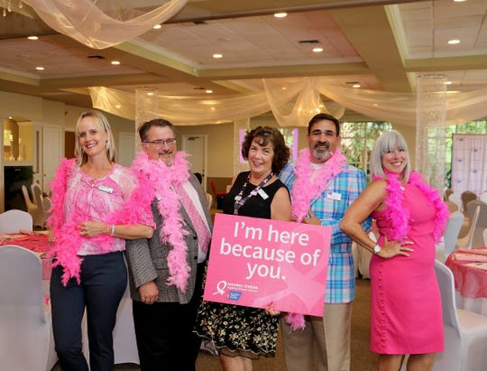 American Cancer Society's 2019 Making Strides Against Breast Cancer volunteers, from left, Laura McGarry, Indian River County event chair and David Moshier, Real Men Wear Pink lead; Denise Averill, St. Lucie County event chair and Chris Averill, Real Men Wear Pink lead; and Shaun Kelly, team captain for Lisa's Lyons, a Martin County top fundraising team.