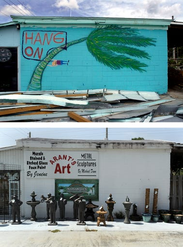 A mural along the side of Arant's Garden Center off US 1 in Stuart reminded us to hang on after the building sustained damage after Hurricane Frances in 2004 (top), and how it appears in June 2014.