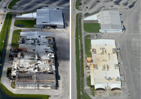 Hurricanes Frances and Jeanne in September 2004 damaged the Piper Aircraft structures in Vero Beach (left) as seen in October 2004 and the restored structures as they appear in July 2014.