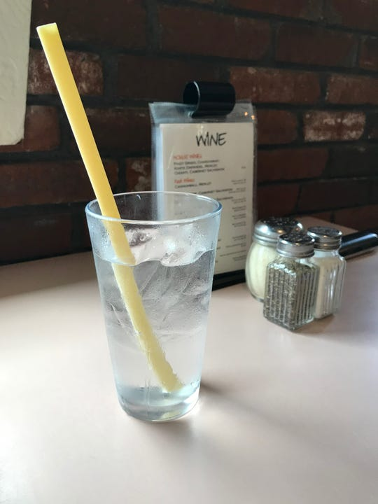 At Pappa Louie's Italian Restaurant in Port St. Lucie, a glass of water is served with a pasta straw.
