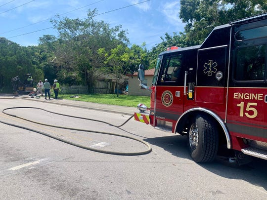 St. Lucie County firefighters are at the scene of a gas leak at 13th Street and Georgia Avenue Aug. 16, 2019.