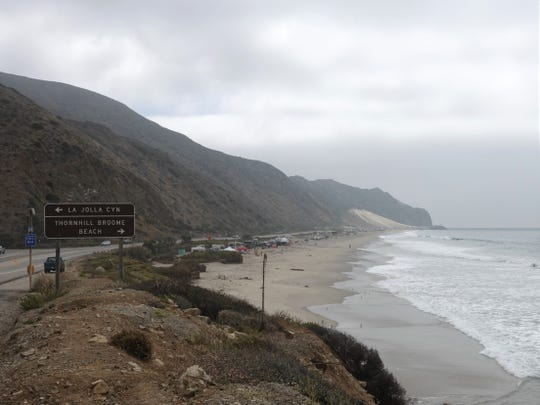A late-morning marine layer lingers over Thornhill Broome Beach on Pacific Coast Highway on Friday.