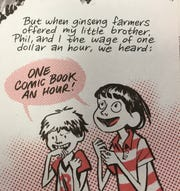 "In a panel from Craig Thompson's ""Ginseng Roots,"" young Phil (left) and Craig (right) react when they hear they'll be paid to work in the ginseng fields near Marathon."