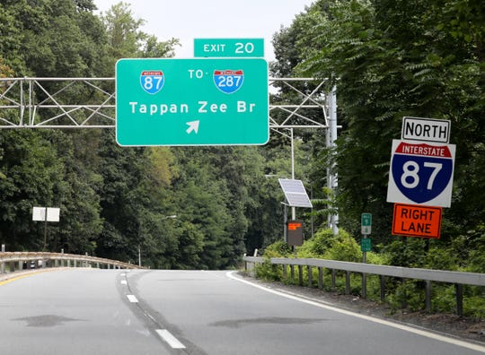A Tappan Zee Bridge sign is seen northbound on the Saw Mill River Parkway in the Town of Greenburgh in Westchester County, as they wait to be changed to the Gov. Mario M. Cuomo Bridge as pictured Aug. 16, 2019.