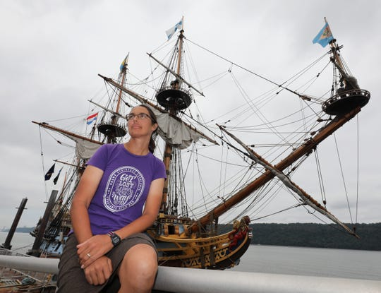 Friday, Aug. 16, 2019: Captain Lauren Morgens, the Ships Master of Kalmar Nickel, a 141-foot full scale ocean going replica of the 1638 Swedish naval vessel that founded New Sweden in Delaware, sits along the railing at the Yonkers city pier. The ship will be in Yonkers for the weekend, giving 2-hour sails along the Hudson River. However, the sails are fully booked and sold out. But head down to the river to check it out anyway.