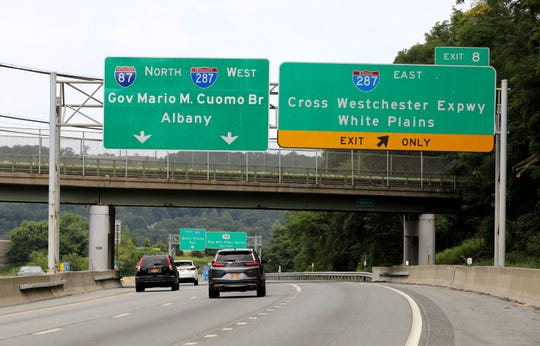 A new Gov. Mario M. Cuomo Bridge overlay sign is pictured over I-87 northbound traveling through the Town of Greenburgh in Westchester County, Aug. 16, 2019.