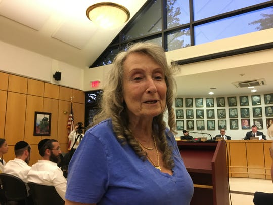 Gail Moggio speaks out against Pascack Ridge development in her Ramapo neighborhood at puiblic hearing in Town Hall on Aug. 15, 2019