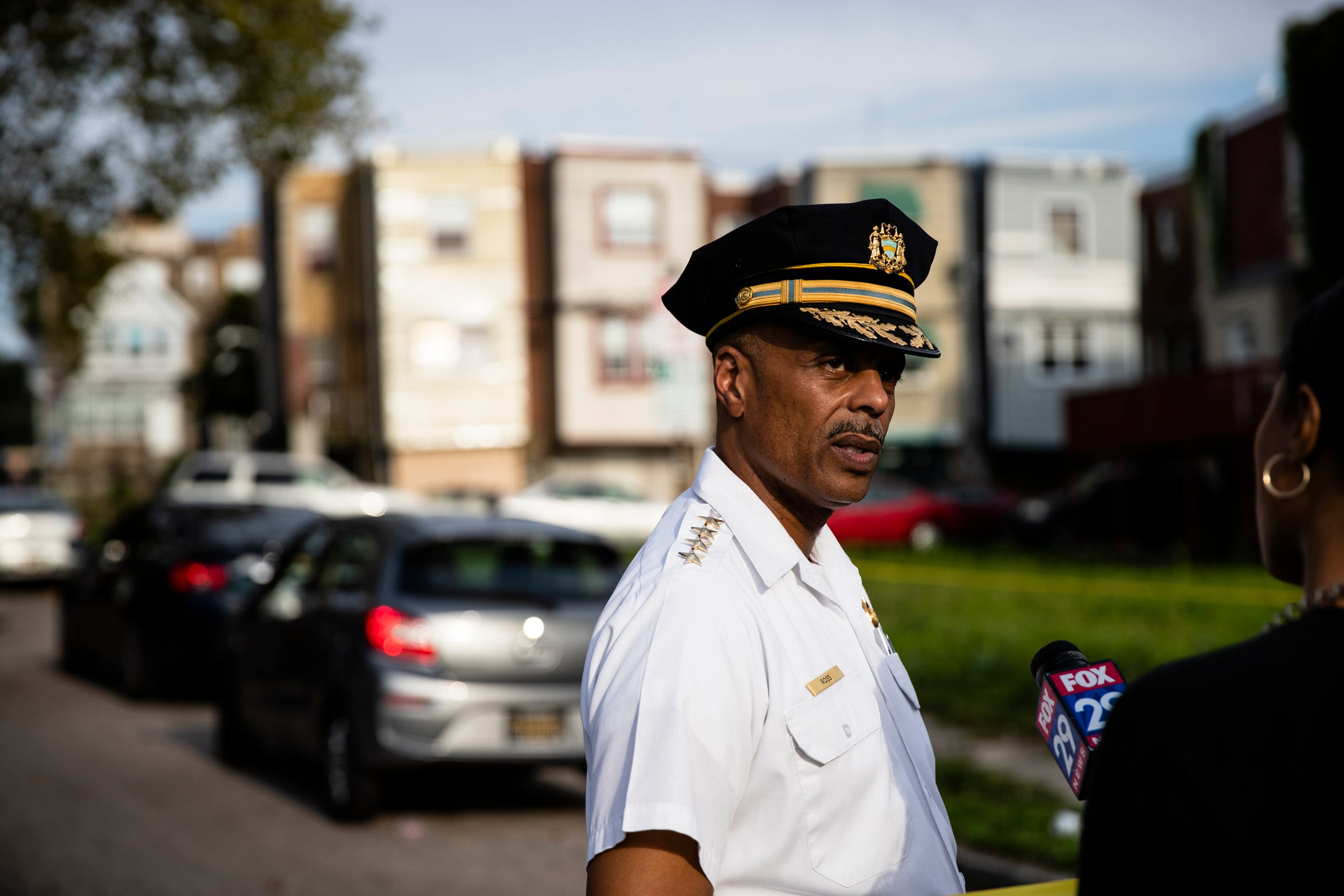 Philadelphia Police Commissioner Richard Ross speaks with members of the media at the scene of a shooting in the Ogontz section of Philadelphia, Thursday, Aug. 15, 2019. (AP Photo/Matt Rourke)