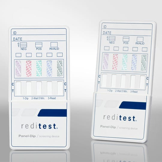 An example of rapid-results drug testing. These tests are meant to provide a preliminary test but are sometimes used as a final determination for drug testing in bond revocation, CPS cases and employment.