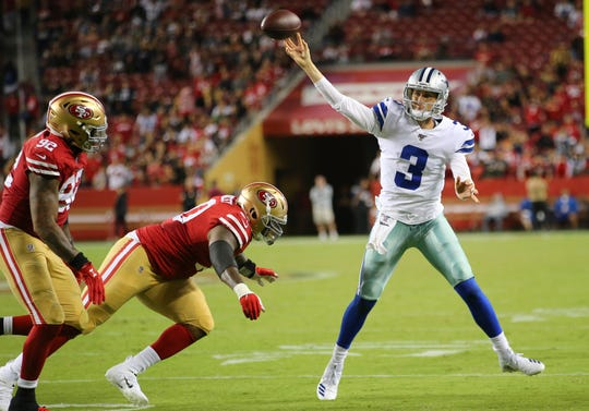 Dallas Cowboys quarterback Mike White (3) passes against the San Francisco 49ers during the second half of an NFL preseason football game in Santa Clara, Calif., Saturday, Aug. 10, 2019. (AP Photo/John Hefti)