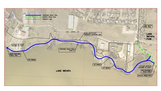 A map shows the location of a section of Hike and Bike Trail which will run from Lake Wichita Park to Larry's Marina. Kimley Horn is proposed to complete design work for the project.