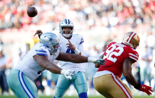 Dallas Cowboys quarterback Dak Prescott (4) passes against the San Francisco 49ers during the first half of an NFL preseason football game in Santa Clara, Calif., Saturday, Aug. 10, 2019. (AP Photo/John Hefti)