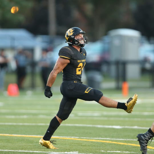 Zanesville High grad Alessio Amato celebrates a big play during a game in 2018 for Ohio Dominican. Amato, a hybrid safety, has sights on breaking the school's career interception record this season.