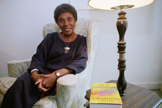 In this Nov. 22, 1991 file photo, author Paule Marshall poses during an interview, in New York.