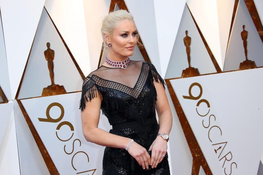 March 4, 2018; Hollywood, CA, USA; Lindsey Vonn arrives at the 90th Academy Awards at Dolby Theatre. Mandatory Credit: Dan MacMedan-USA TODAY NETWORK ORIG FILE ID:  20180304_ajw_usa_028.jpg